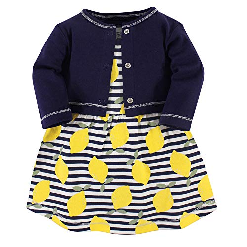Touched by Nature Girl Baby Organic Cotton Cardigan and Dress, Lemons 2 Piece Set, 6-9 Months (9M)