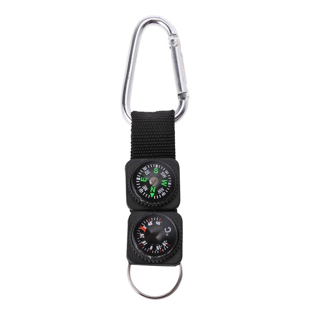 Fogun Outdoor Sport Schlüsselanhänger Karabiner Reise Wandern Kompass Thermometer Survival Tool