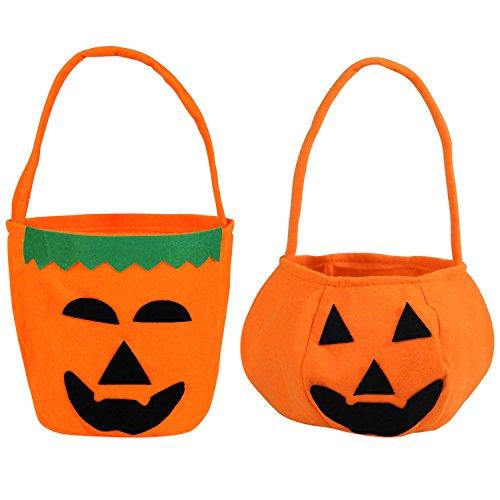 (Trick or Treat Pumpkin Candy Tote Bags,SHEJIZHE Halloween Candy Bag For Halloween)