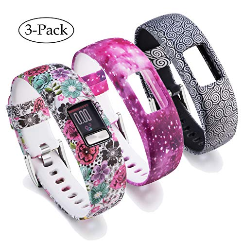 For Garmin Vivofit 4 Bands Printing Patterns Style Replacement Soft Silicone Adjustable Straps Wristband Accessories for Garmin Vivofit4 Tracker Band Large & Small [3 Pack] (Small, Multicolor-B)