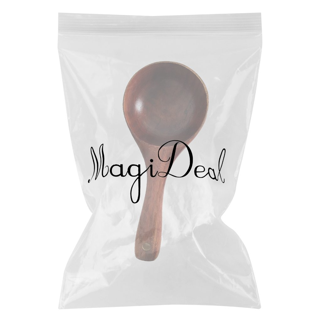 MagiDeal 1 Piece Vintage Multipurpose Round Wooden Scoop Spoon Ladle with Long Handle