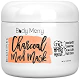 Facial Cellulitis Treatment - Body Merry Charcoal Mud Mask: Face mask for deep skin clean to clear blackheads & unclog pores & detoxify / brighten complexion with natural ingredients like Kaolin + Bentonite + Fruit Extracts