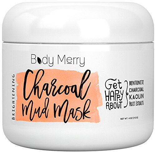 Body Mud Masque - Body Merry Charcoal Mud Mask: Face mask for deep skin clean to clear blackheads & unclog pores & detoxify / brighten complexion with natural ingredients like Kaolin + Bentonite + Fruit Extracts