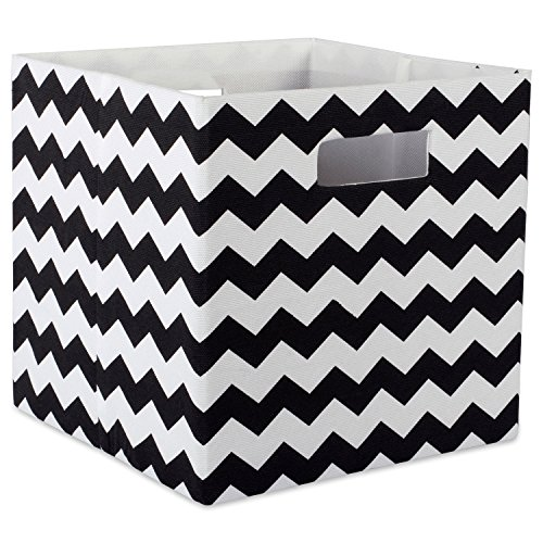 DII Hard Sided Collapsible Fabric Storage Container for Nursery, Offices, & Home Organization, (13x13x13) - Chevron Black