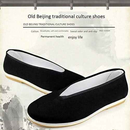 ユニセックス の綿の靴ブルース・リー中国カンフー靴翼春太極拳スリッパ武道純粋な綿の靴、ゴム底black-37
