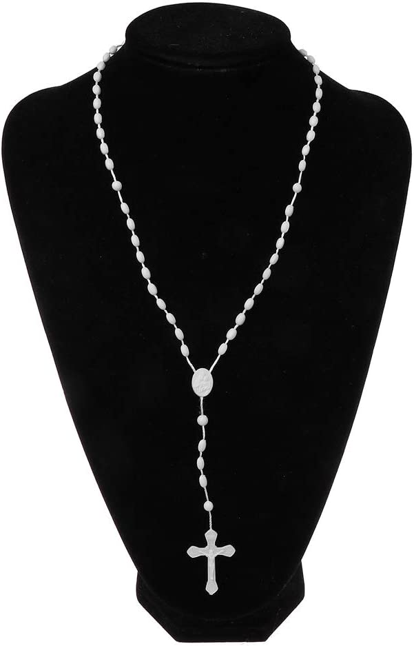 YoungerY Collier Pendentif Chapelet Croix Lumineuse Rose