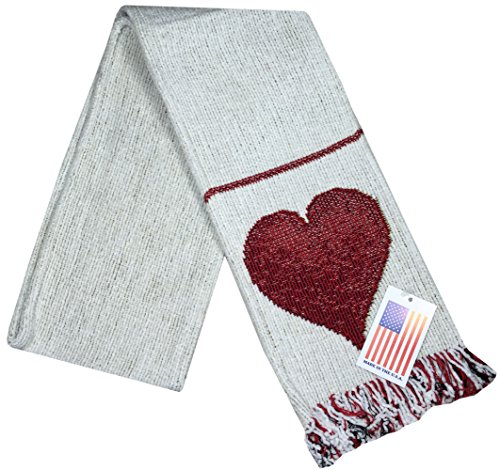 Manual Unisex Chenille Love Heart White Rib Knit Fringed Scarf ASFLOV 5.5x60