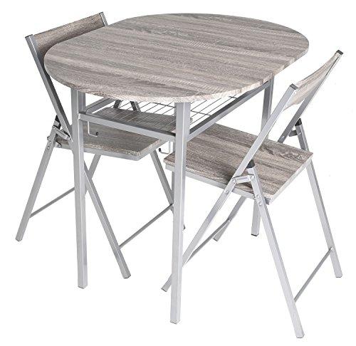 Drop 2 Piece Leaf (Zenvida 3 Piece Wood Drop Leaf Breakfast Table and 2 Folding Chairs Rustic Grey)
