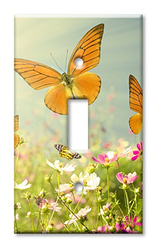 Art Plates Brand Single Gang Toggle OVERSIZE Switch / Wall Plate - Butterflies
