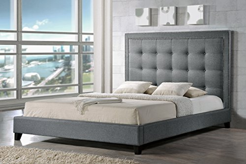 Baxton Studio BBT6377-Grey-Queen Hirst Platform Bed, Queen, Grey