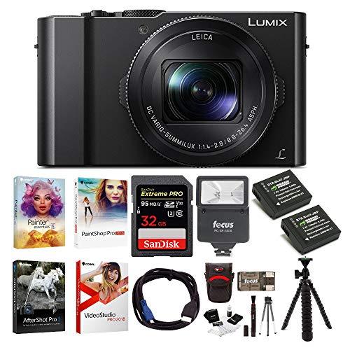 Panasonic LUMIX LX10 4K Digital Camera with 24-72mm Lens (Black), Corel Software Kit, 32GB SD Card, Two Wasabi Power Batteries, Flash, 12