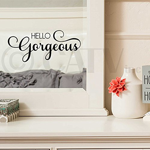 Hello Gorgeous Vinyl Lettering Wall Decal Sticker (Black)