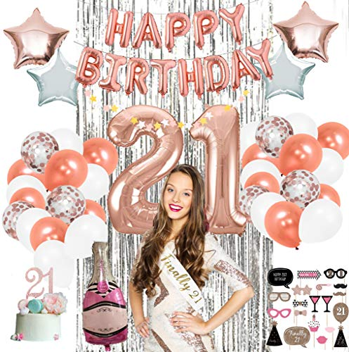 21st Party Supplies by Serene Selection, Rose Gold Birthday Decorations for Girls, Photo Booth Props, Silver Fringe Foil Curtain, Cake Topper, Happy Birthday Balloons, Sash