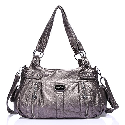 - Angelkiss Design Handbags Womens Purse Feel Soft Lether Multiple Top Zipper Pockets Shoulder Bags Large ...