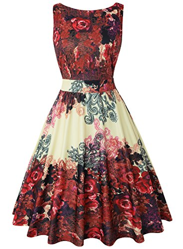 - MISSJOY Women's Boat-Neck Floral Sleeveless Midi Fit Flare Dress with Pocket