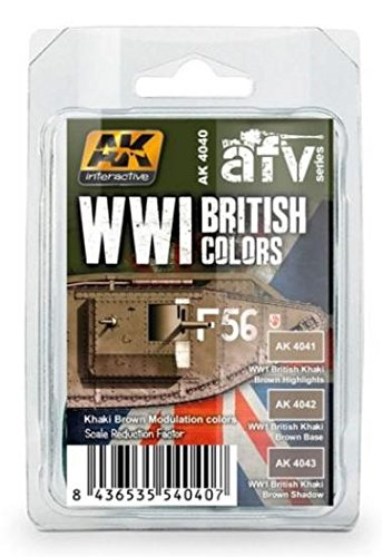 (WWI British Colors Khaki Brown Modulation Acrylic Paint Set (3 colors) 17ml Bottles AK Interactive)