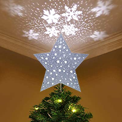 Christmas Tree Star.Yunlights Christmas Tree Topper Lighted Star Tree Topper With Led Snowflake Projector Lights Christmas Decorations Silver