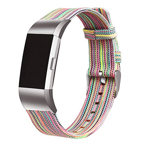 bayite Canvas Fabric Bands Compatible with Fitbit Charge 2, Soft Classic Replacement Woven Straps Wristband Women Men, Rainbow Small