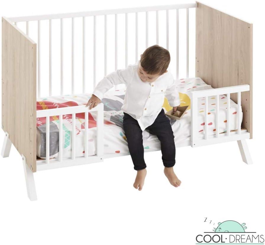 Cuna colecho Shira 120x60 + kit colecho + colchón HR + barandillas para convertir la cuna en cama
