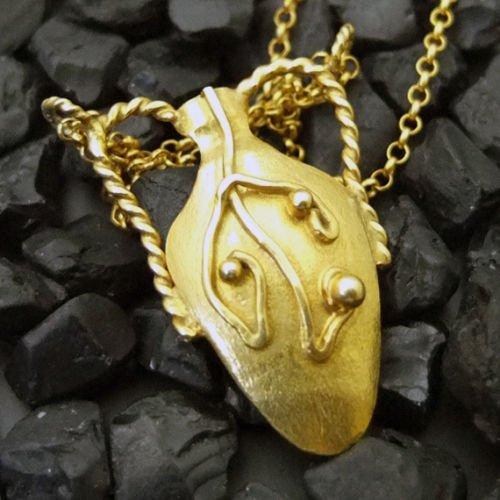(Ancient Design Handmade Antique Designer Amphora Necklace 22K Gold over 925K Sterling Silver )