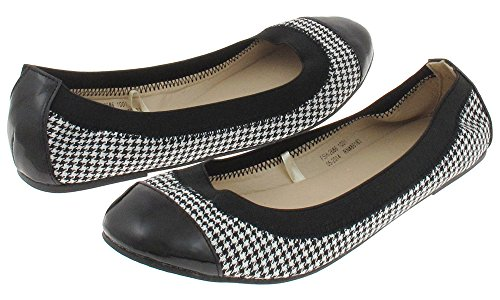 Capelli New York Women'si Houndstooth Casual Flat Black Combo - Si Mall