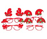 RufNTop Merry Christmas X-mas Santa Rudolph Snowman Glasses for Boys and Girls Costume Accessory for Party or Celebrations(Glasses pack of 4)