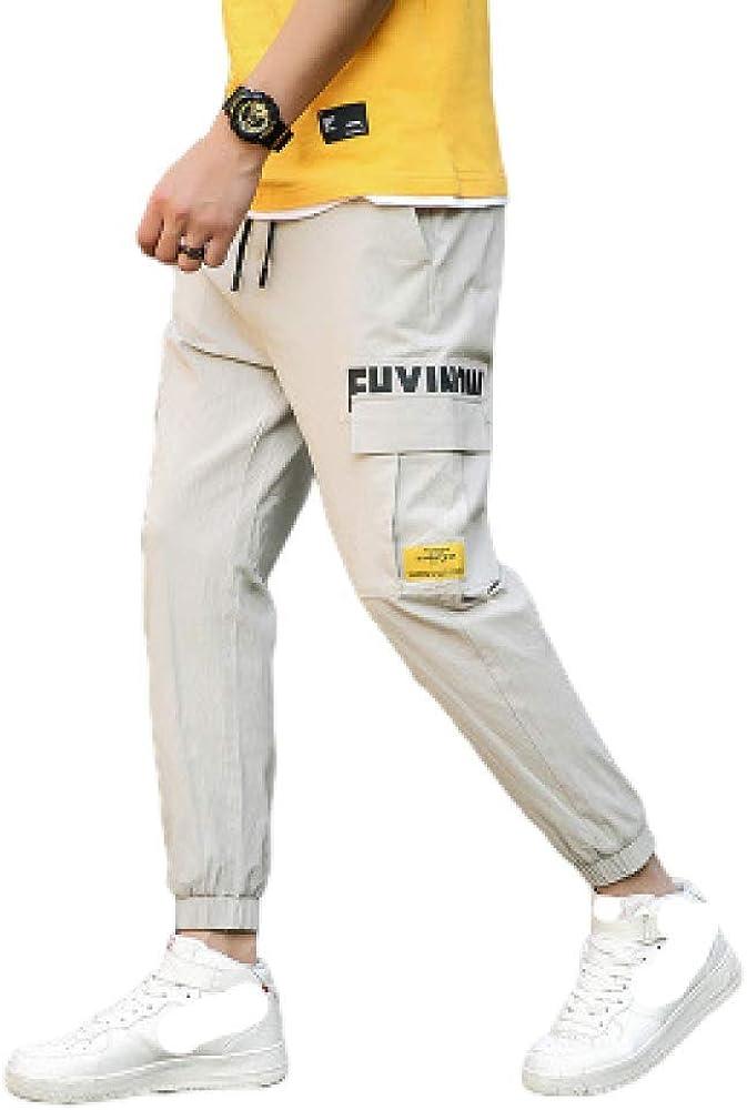 Pantalones de Hombre Talla Grande versión Coreana de Pantalones de Hip-Hop Delgados pies Deportivos Casuales cordón Salvaje Nueve Puntos Ropa de Trabajo