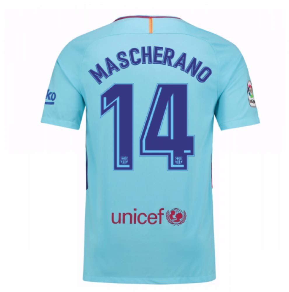 2017-2018 Barcelona Away Football Soccer T-Shirt Trikot (Javier Mascherano 14)