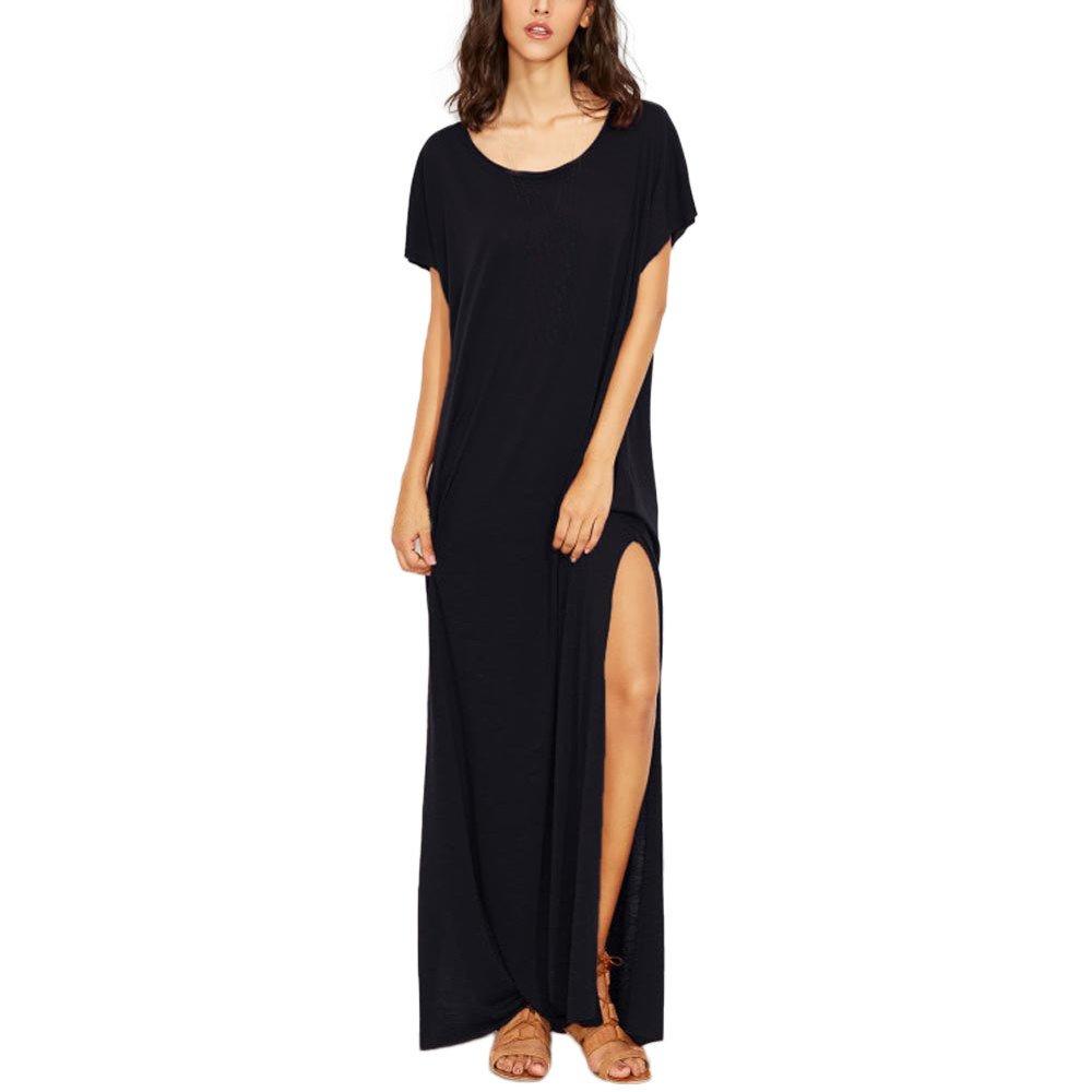Womens Dresses Clearance! Women's Losse Short Sleeve Solid Sling Beach Hoilday Split Long Maxi Dress (M, Black)