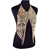 DOTASI Women's Sexy Halter Backless Tank Top Bra Body Chain Necklace Tassels Party