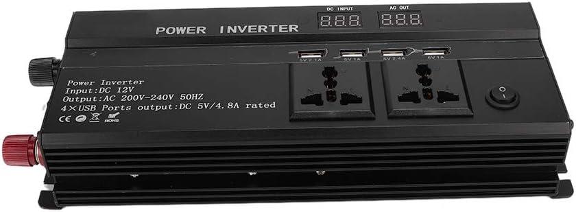 inverter di potenza per auto Caricabatterie per auto Pura onda sinusoidale pura Inverte con 4 interfacce USB con display LCD 4000W DC 12V a AC 220V Uso multifunzione per auto
