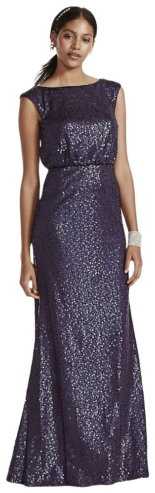 David's Bridal Long Sequin Blouson Bridesmaid Dress Style F19022, Navy, 1X by David's Bridal