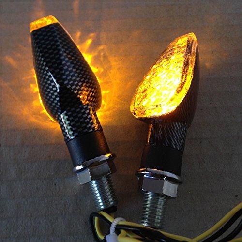 Carbon Fiber LED Motorcycle Dual Sport Turn Signal Light Clear Lens For Suzuki Kawasaki Honda Yamaha by HTT (Image #1)