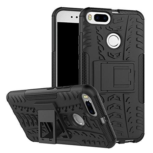 Xiaomi Mi A1 Case Hybrid DWaybox Rugged Heavy Duty Armor Hard Back Cover Case with Kickstand for Xiaomi Mi A1 / Mi 5X 5.5 Inch (Black)