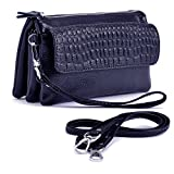 Shalwinn Women's Genuine Leather Crossbody Purse Shoulder bag Cellphone Pouch Purse Wristlet Wallet Clutch with Long Shoulder Strap and Wrist Strap (887#Sapphire Blue)