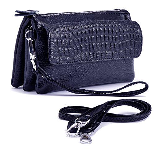 la de sapphire bolsa hombro correa 887 teléfono Shalwinn cuero genuino suave correa Crossbody Blue de hombro muñeca de con embrague y bolsa pulsera larga cartera de de de celular bolsa wxwXf6q