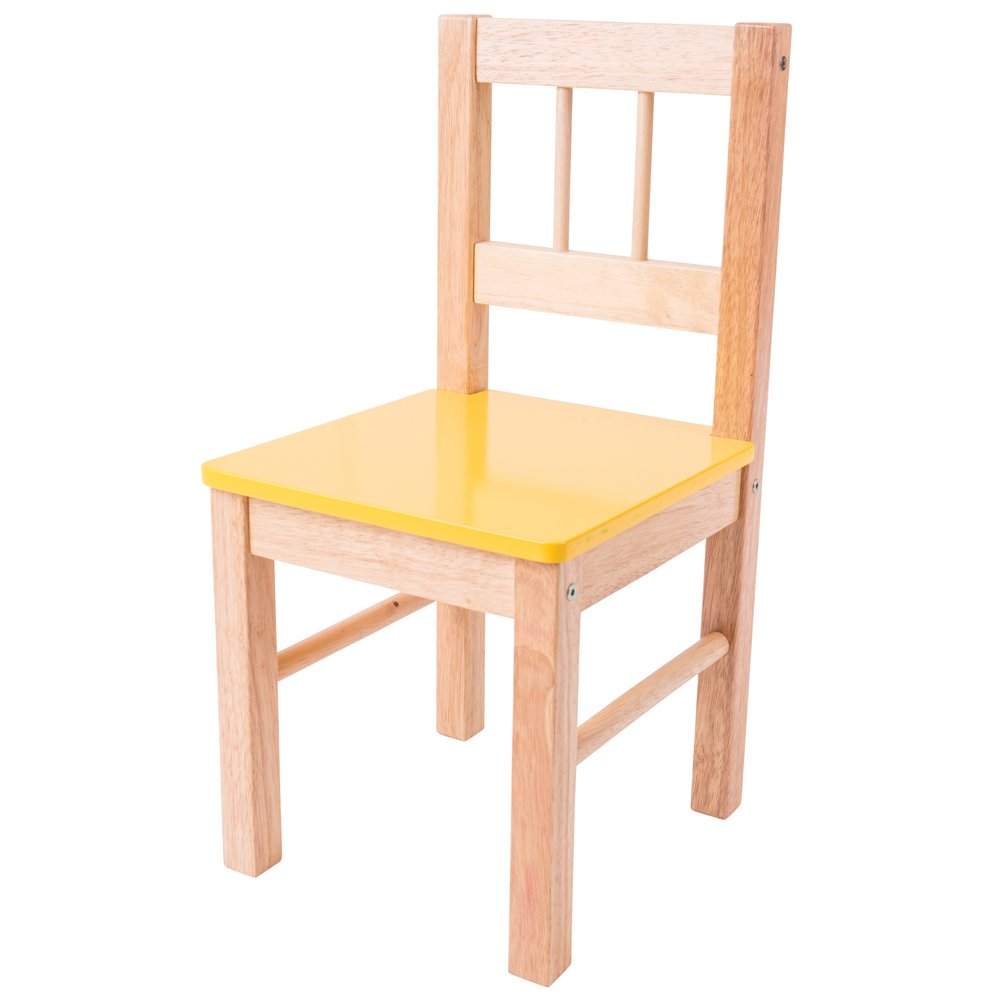 Bigjigs Toys Children's Wooden Yellow Chair - Bedroom Furniture and Accessories 691621022542