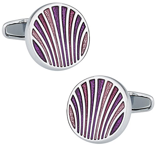 (Cuff-Daddy Unique Pink, Purple, Red Enamel Round Silver Cufflinks with Presentation)