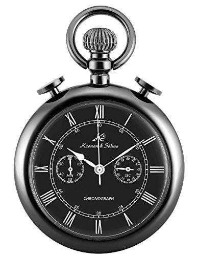KS Classic Roman Numerals Markers Chronograph Function Quartz Pocket Watch KSP093 by Kronen Soehne