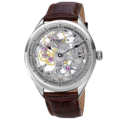Akribos XXIV Men's AK802GY Mechanical Movement Watch with Silver and See Thru Dial and Brown Leather Strap