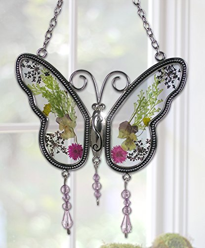 Butterfly Suncatcher (Butterfly Suncatcher with Real Embedded Pressed Flower Wings Window Ornament Decoration Birthday Gift for Mom Grandma Chain for Hanging Metal and Glass 4.25 Inch)