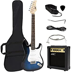 Best Choice Products 39in Full Size Beginner Electric Guitar Starter Kit w/Case, Strap, 10W Amp, Tremolo Bar – Blue 51ukn9xbUGL