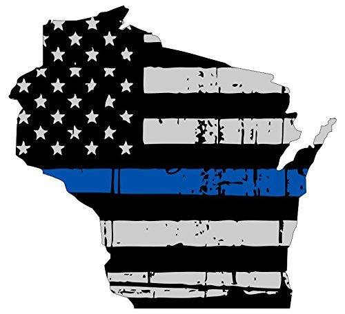 Wisconsin tattered thin blue line us flag honoring our men & women of law enforcement car symbol sticker decal die cut vinyl window computer - Made and Shipped in USA