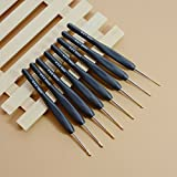 AKOAK 8 Pcs/Set 1.0mm ~ 2.75mm Black Plastic Handle Aluminum Hook Crochet Hooks Knit Knitting Weave DIY Craft Needles Loom Tool