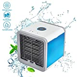 Portable Air Conditioner Mini Fan- Personal Mini Air Conditioner, USB Portable Personal Space Air Cooler Humidifier Purifier 7 Colors LED 3 Fan Speeds, Cooling Fan Office Home Outdoor