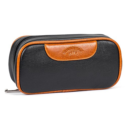 Brown Black Tobacco Pipe Bag Pouch Case Pipe Pocket Pipe Tool Pocket for 2 Pipes by Pipe pouch