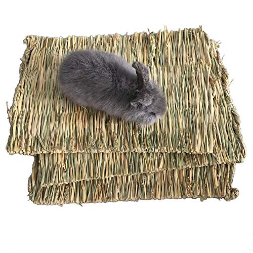 - PIVBY Woven Pet Bed Rabbit Grass Mat,Bunny Bedding Nest Chew Play Toys for Hamsters Parrot Rabbits Hedgehog Guinea Pig Bunny and Other Small Animals (3 Pack)