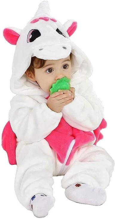 Disfraz de Pijama de Unicornio para bebé niña,Mameluco con Capucha Animal de Franela,Disfraz de Halloween Regalo de cumpleaños de Navidad
