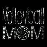 Iron on Hot Fix Rhinestone Motif Design Volleyball Mom