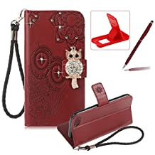 Strap Leather Case for iPhone 8,Diamond Brown Wallet Flip Case for iPhone 7,Herzzer Stylish 3D Owl Magnetic Closure Cute Owl Printed Stand Shockproof Card Slots Folio PU Leather Back Case with Soft Silicone